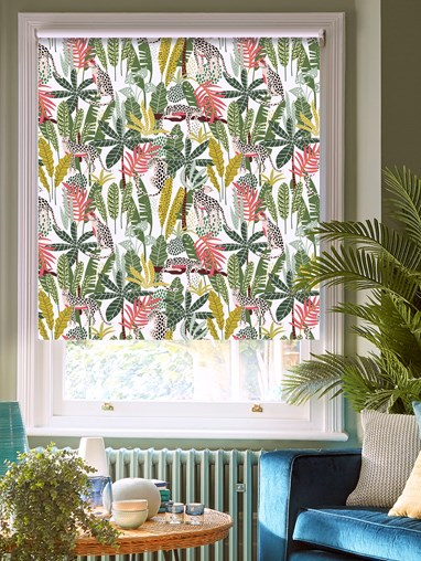 Jungalist Lime Patterned Blackout Electric Roller Blind
