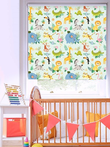Safari Party Patterned Blackout Electric Roller Blind