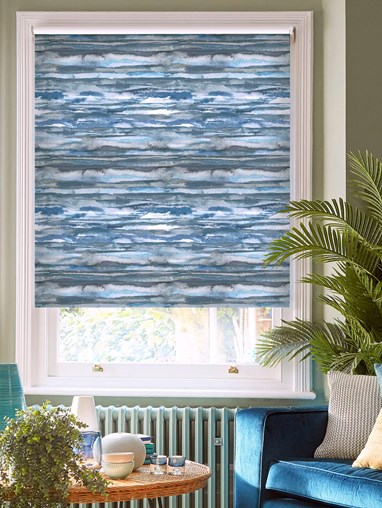 Aquarelle Stripe Denim Daylight Electric Roller Blind