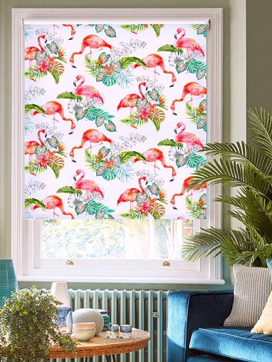 Flamingo Tropics Bright Patterned Daylight Electric Roller Blind