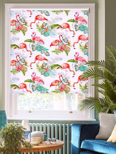 Flamingo Tropics Bright Daylight Electric Roller Blind