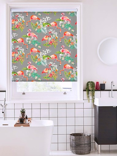 Flamingo Tropics Charcoal Patterned Daylight Electric Roller Blind
