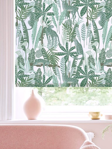 Jungalist Mint Patterned Daylight Electric Roller Blind