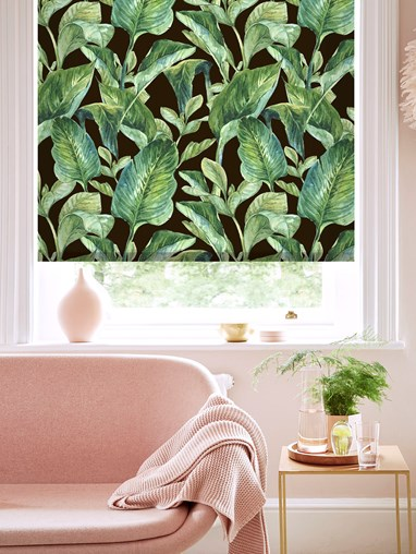 Jungle Leaves Night Patterned Daylight Electric Roller Blind
