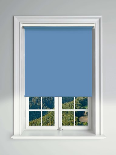 Blackout Sky Blue Electric Roller Blind Powered By Solux