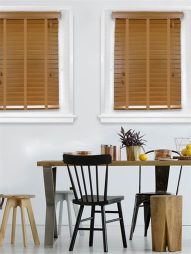 Sunset Oak Woodgrain Faux Wood Venetian Blind With Biscuit Tapes