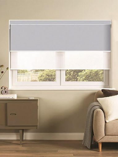 Grey and White Luxury Double Roller Blind