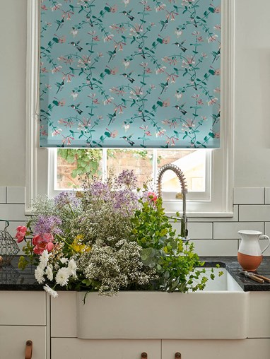 Hummingbird Mint Roller Blind by Lorna Syson