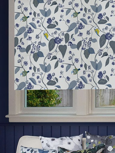 Spring Ivy Blue Roller Blind by Lorna Syson