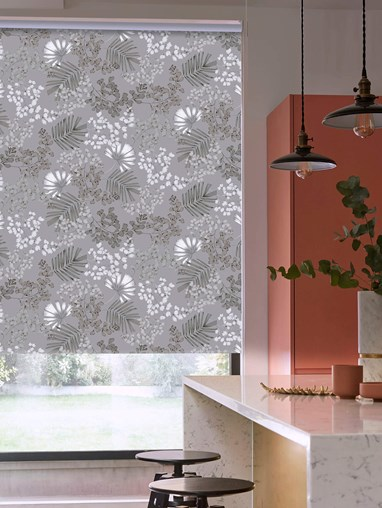 Maidenhair Grey Patterned Blackout Electric Roller Blind