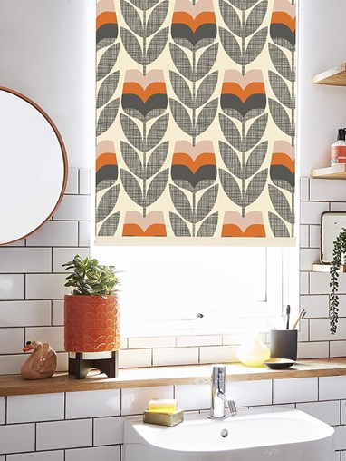 Orla Kiely Rose Bud Orange Roller Blind