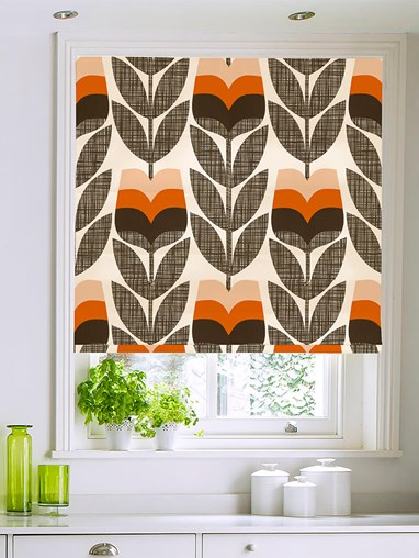Orla Kiely Rosebud Orange Electric Roman Blind
