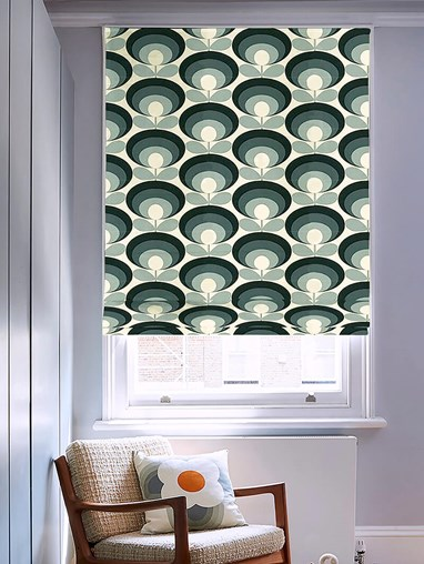 Orla Kiely Seventies Flower Oval Cool Grey Electric Roman Blind
