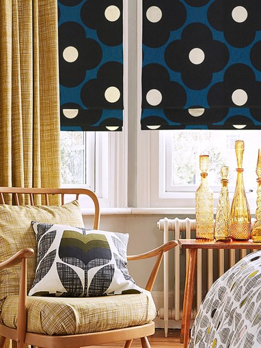 Orla Kiely Spot Flower Dark Marine Electric Roman Blind