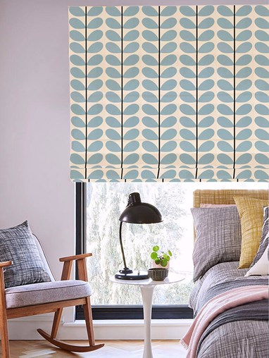 Orla Kiely Two Colour Stem Powder Blue Electric Roman Blind