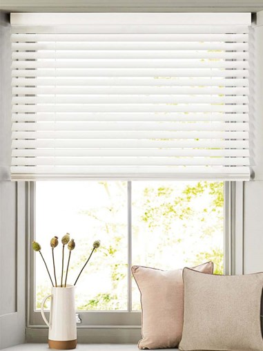 White 50mm Wooden Electric Venetian Blind