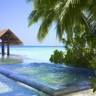 Pool Beach at Reethi Rah, luxury hotel in the Maldives