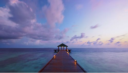 Beach Walkway at Sunset, Maldives