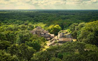 Aerial of Belize ruins
