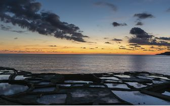 Salt pans at sunset