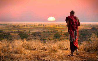 Masai Warrior at Sunset, Tanzania