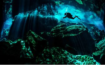 Cave diving in Cancun, Mexico