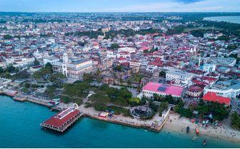 Aerial view of Stone Town, Zanzibar