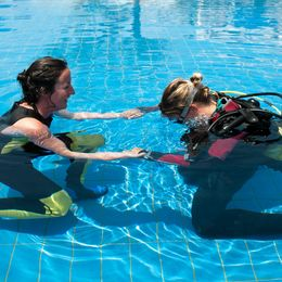 Dive lesson in swimming pool