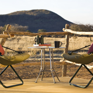 Terrace at Okonjima, luxury camp in Namibia