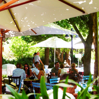 The restaurant terrace at Le Quartier Francais, luxury hotel in South Africa