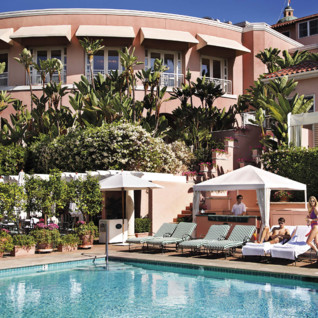 Poolside at Beverly Hills Hotel, luxury hotel in  Los Angeles