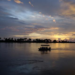 Sunset at Impala Camp, luxury hotel in Tanzania, Africa