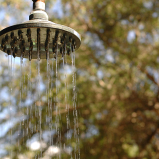 Shower at Lake Manze Tented camp, luxury camp in Tanzania