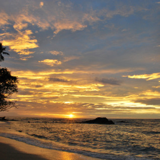Picture of the sunset over Tufi Dive Resort