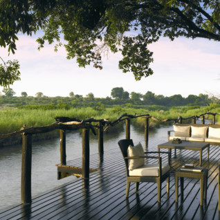 The river deck at Lion Sands, luxury hotel in South Africa