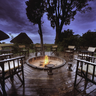 Camp fire at Lebala Camp, luxury camp in Botswana