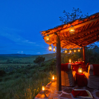 Tarrace view by sunset at Klein's Camp, luxury camp in Tanzania
