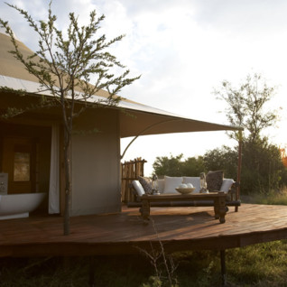 Terrace at the Sayari Camp, luxury camp in Tanzania