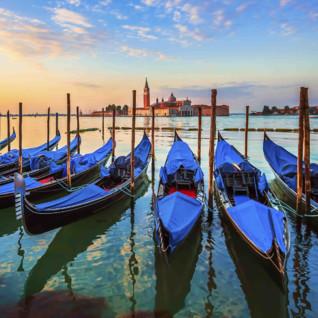 A row of blue gondolas
