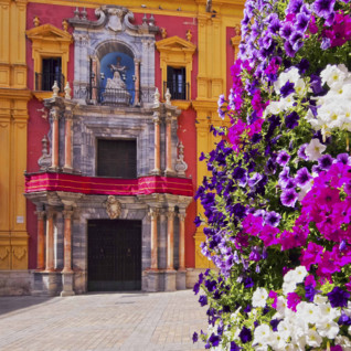 Bright Flowers in Front of a Church in Coastal Andalucia