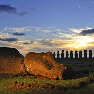 Giant Moai at Sunset