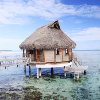 Over water bungalow and clear waters