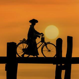 U Bein Bridge in Manadalay in Burma at sunrise