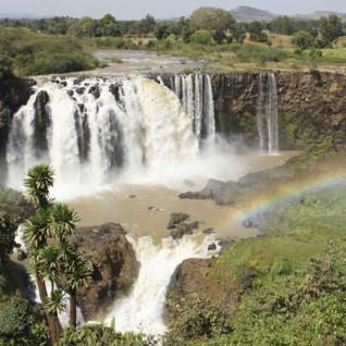 Aerial view of Blue Nile Falls in Ethiopia