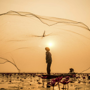 Inle Lake fisherman and net in Myanmar
