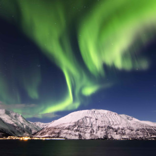 aerial view of northern lights