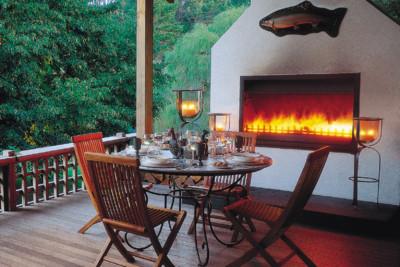 Huka lodge fireplace