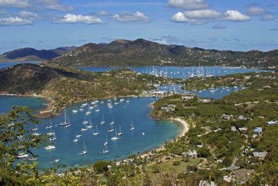 An aerial view of Antigua, Caribbean