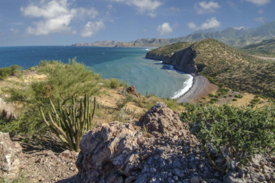 The coast line in Baja California in Mexico