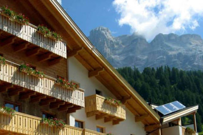 Exterior of ciasa antersies in the dolomites in italy